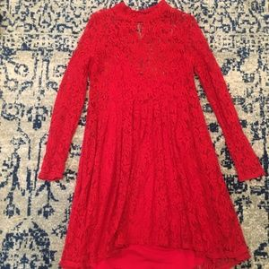 Free People Red Hot Dress
